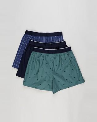 Lacoste 3 Pack Woven Boxers - Underwear & Socks (Idaho Green, Navy & Blue)