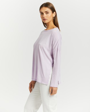 Cotton On Oversize Side Split Long Sleeve Top - Tops (Washed Powder Lilac)