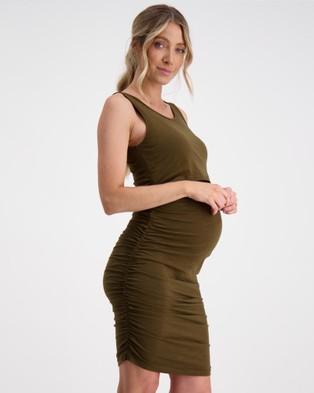 Maive & Bo Essential Maternity Tank Dress - Bodycon Dresses (Khaki)