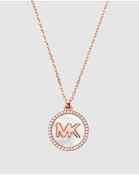 Michael Kors - MK Pave and Mother of Pearl Logo Necklace
