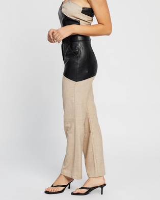 4th & Reckless Macie Trousers - Pants (Black PU & Woven Mix)