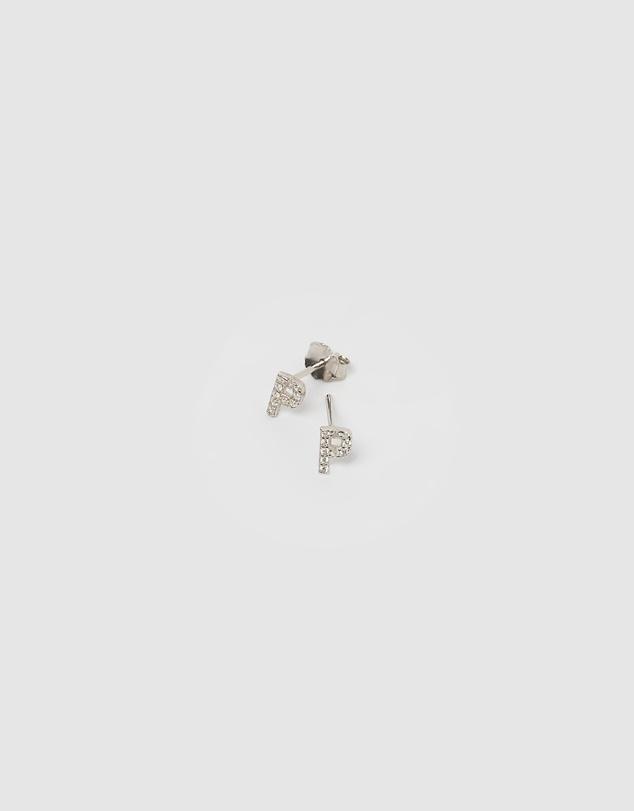 Women Alphabet Mini Letter P Stud Earrings Silver