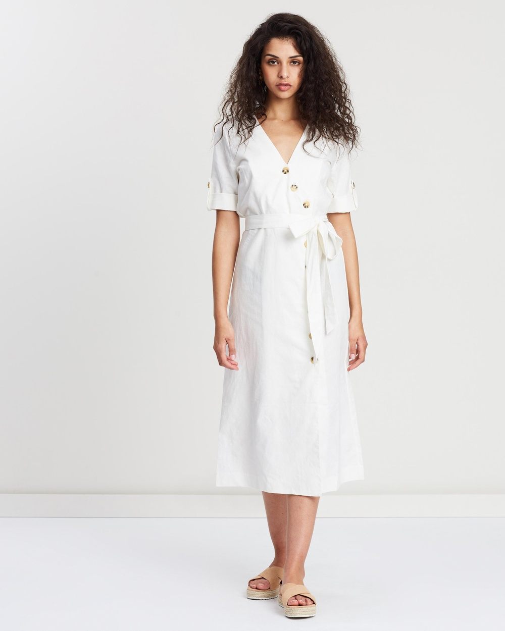 Wite Ivory Meg Button Dress