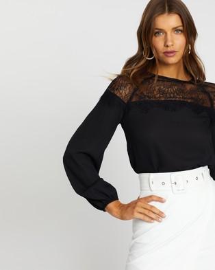 Atmos&Here Dakota Lace Panel Blouse - Tops (Black)