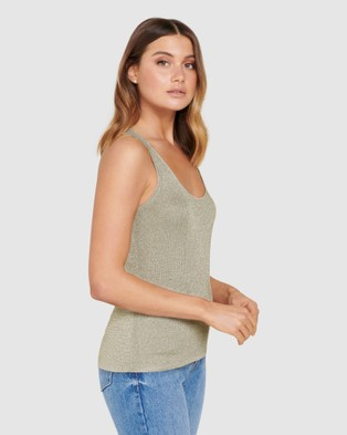 Forever New Jade Metallic Scoop Knit Tank - T-Shirts & Singlets (Sage)
