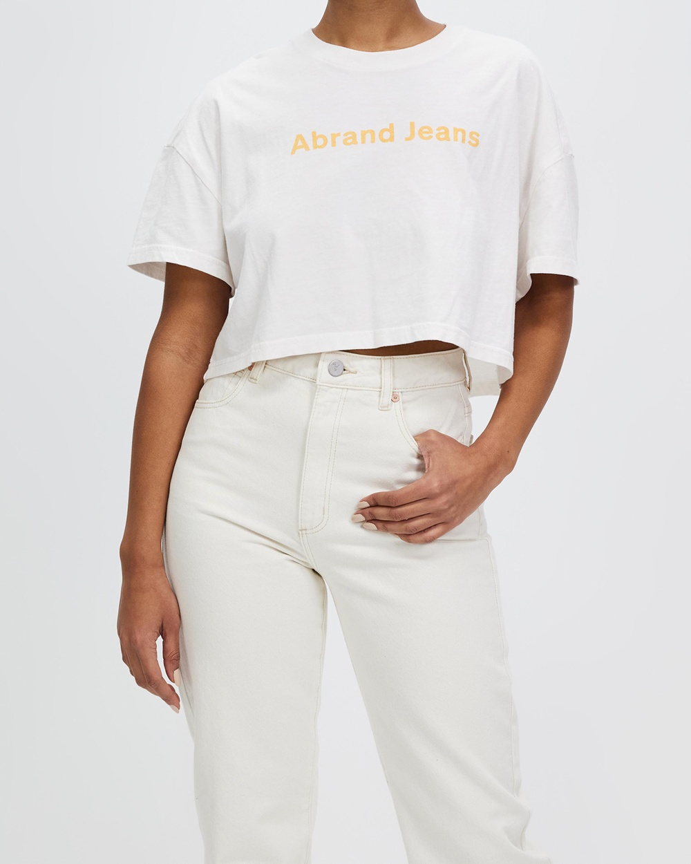 Abrand A Cropped Oversized Tee T-Shirts & Singlets White Sand