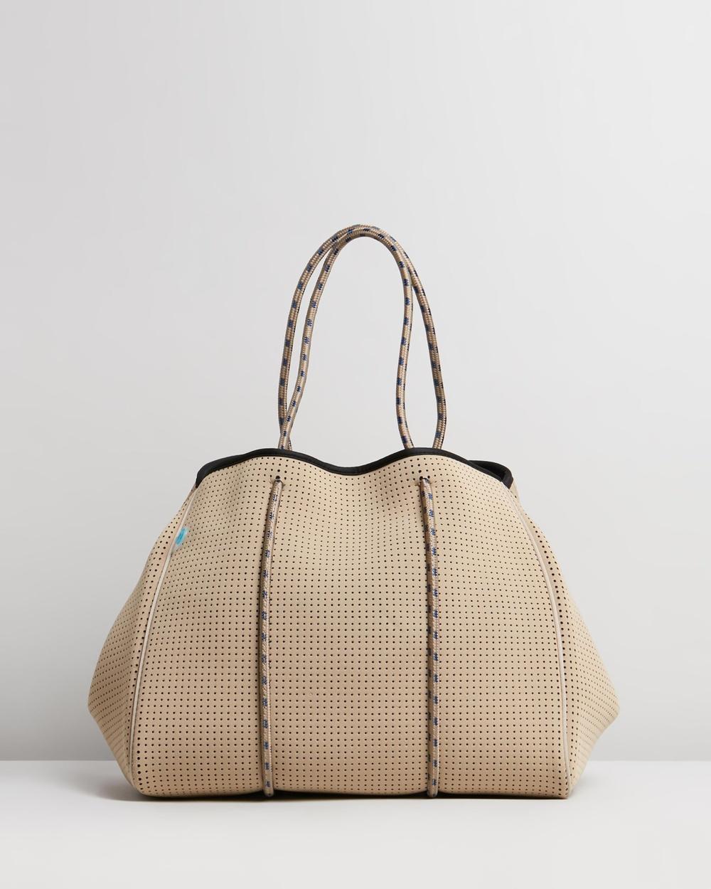 Chuchka Jen Neoprene Tote Bag Beach Bags Natural Neoprene, Brown Navy Rope & Internal