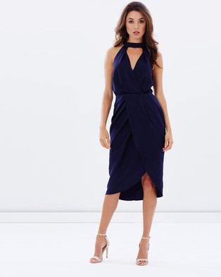 Atmos & Here – Remie Plunge Collared Dress – Dresses (Navy)
