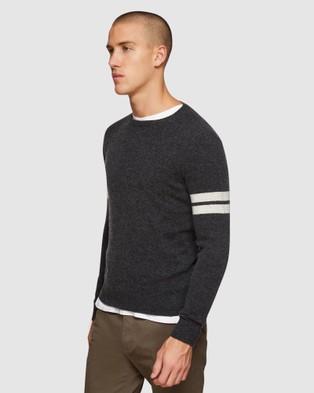Oxford Hartley Stripe Sleeve Knit - Jumpers & Cardigans (Grey)