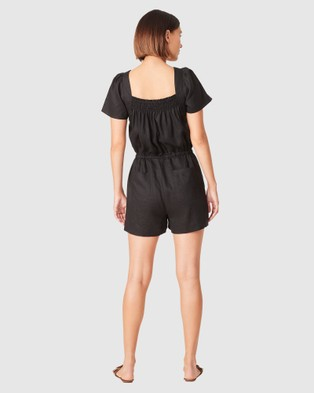 French Connection Linen Shirred Playsuit - Pants (BLACK)