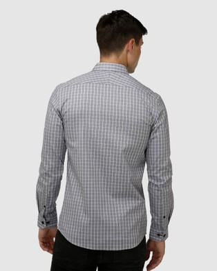 Brooksfield Modern Check Business Shirt - Shirts & Polos (Wine)