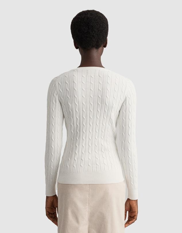 Women Stretch Cotton Cable V-Neck
