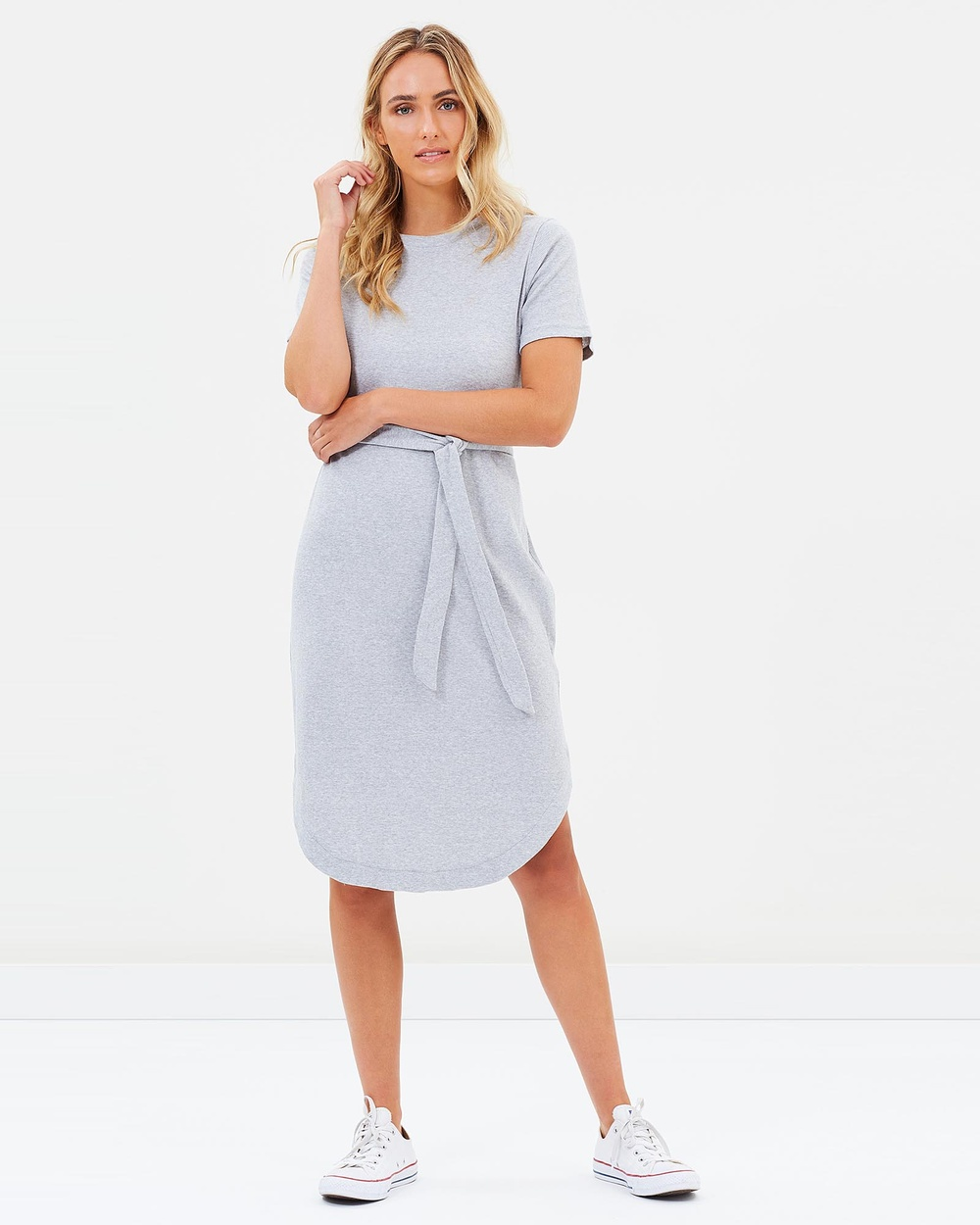 Elwood Rosette Dress Grey Marle Dresses Grey Marle Rosette Dress Grey Marle