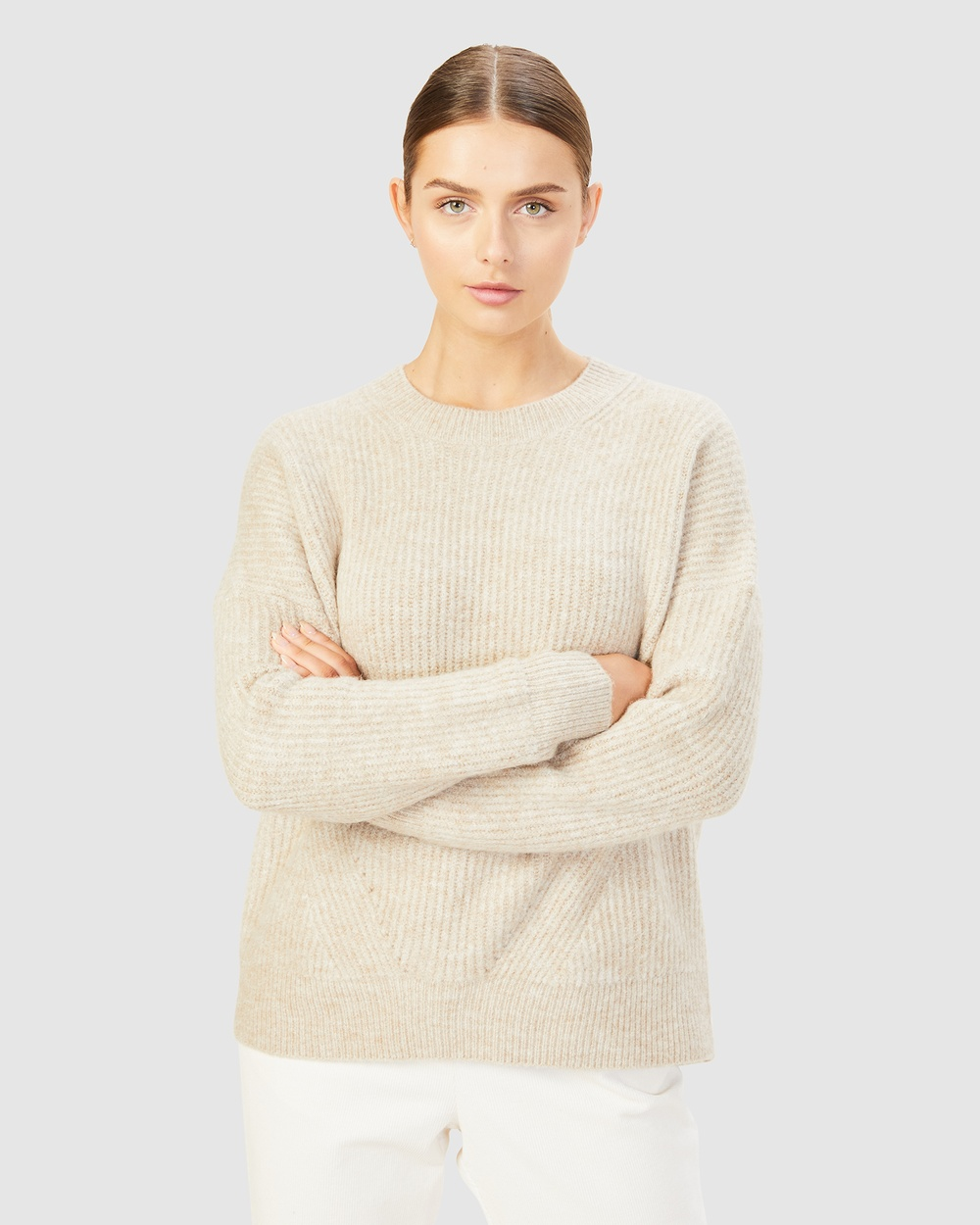 French Connection Stitch Detail Crew Neck Knit Jumpers & Cardigans CAMEL Australia