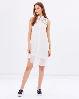 S. WALLIS – Francoise Chiffon Lace Shirt Dress White