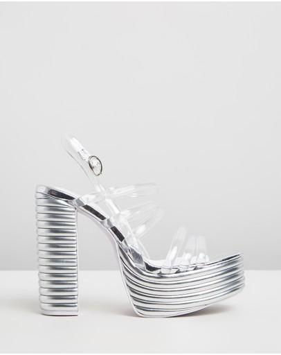 Jeffrey Campbell Abba Leather Platform Heels Silver