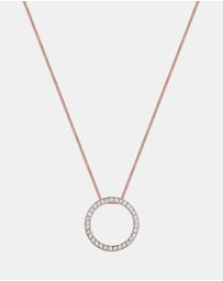 Elli Jewelry - Necklace Rosegold Plated 925 Sterling Silver Circle Swarovski Crystal