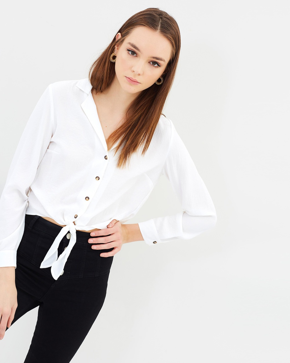 Miss Selfridge Tie Front Shirt Cropped tops Cream Tie Front Shirt