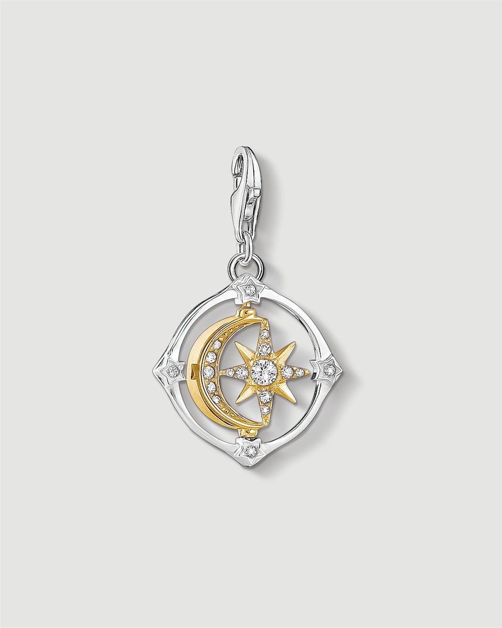 THOMAS SABO Moveable Moon & Star Charm Pendant Jewellery Multicoloured