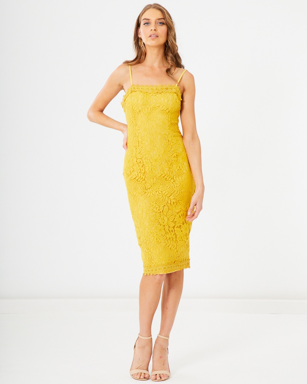 Tussah Mustard Lace Rachelle Midi Dress
