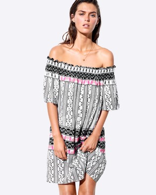 Seafolly – Embroidered Print Off Shoulder Dress – Swimwear Black