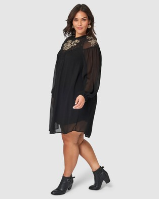 Something 4 Olivia Brielle Embroidered Dress - Dresses (Black)