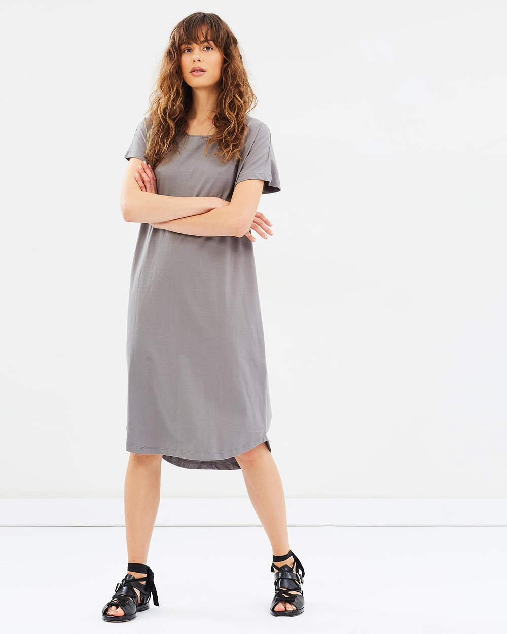 Cloth & Co. Organic Cotton Long T Shirt Dress Dresses Charcoal Organic Cotton Long T-Shirt Dress