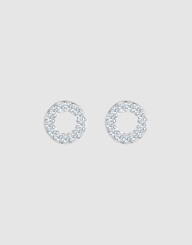 Women Earrings Plug Circle with Diamond (0.13 ct.) in 925 Sterling Silver