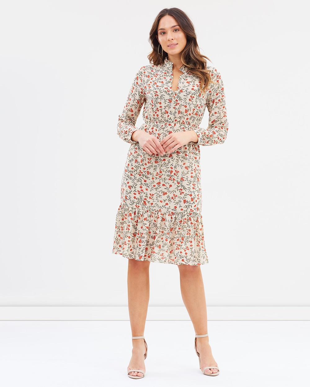 Forcast Martha Button Up Dress Printed Dresses Beige Martha Button Up Dress