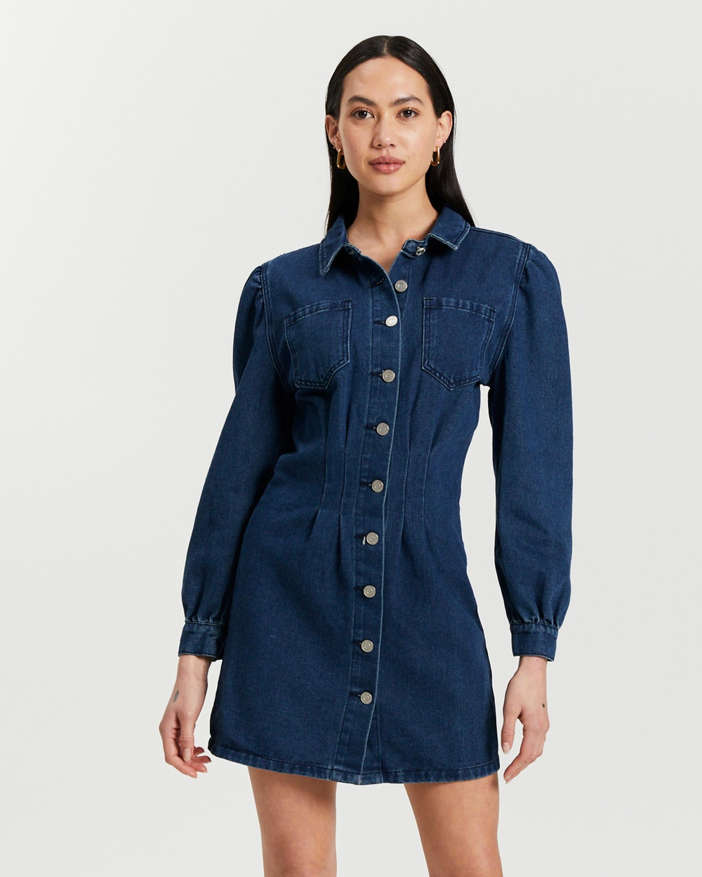 Missguided Cinched Waist Denim Shirt Dress Dresses Deep Blue Australia