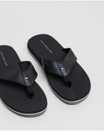 Tommy Hilfiger - Debossed Leather Beach Sandals