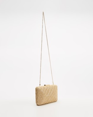 Olga Berg INES Woven Hardcase Clutch - Clutches (Natural)