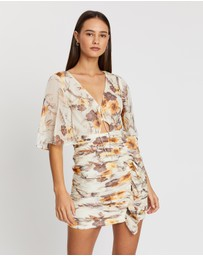 Shona Joy - Marquis Flutter Sleeve Ruched Mini Dress