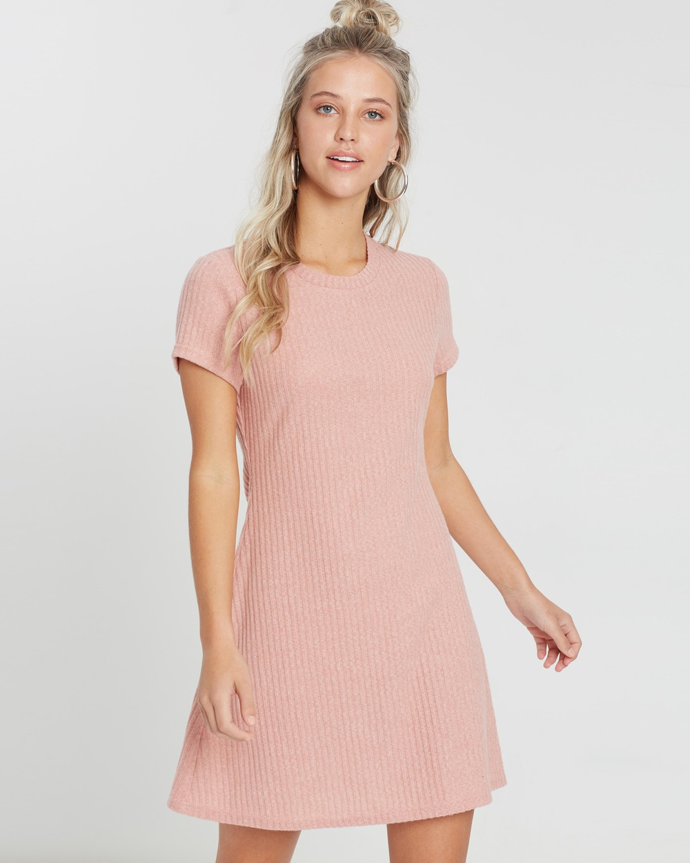 MINKPINK Gentle Brushed Rib Mini Dress Dresses Dusty Pink Gentle Brushed Rib Mini Dress