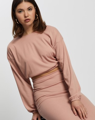 Missguided Coord Rib Crop Top And Midaxi Skirt Set - Skirts (Dusky Pink)