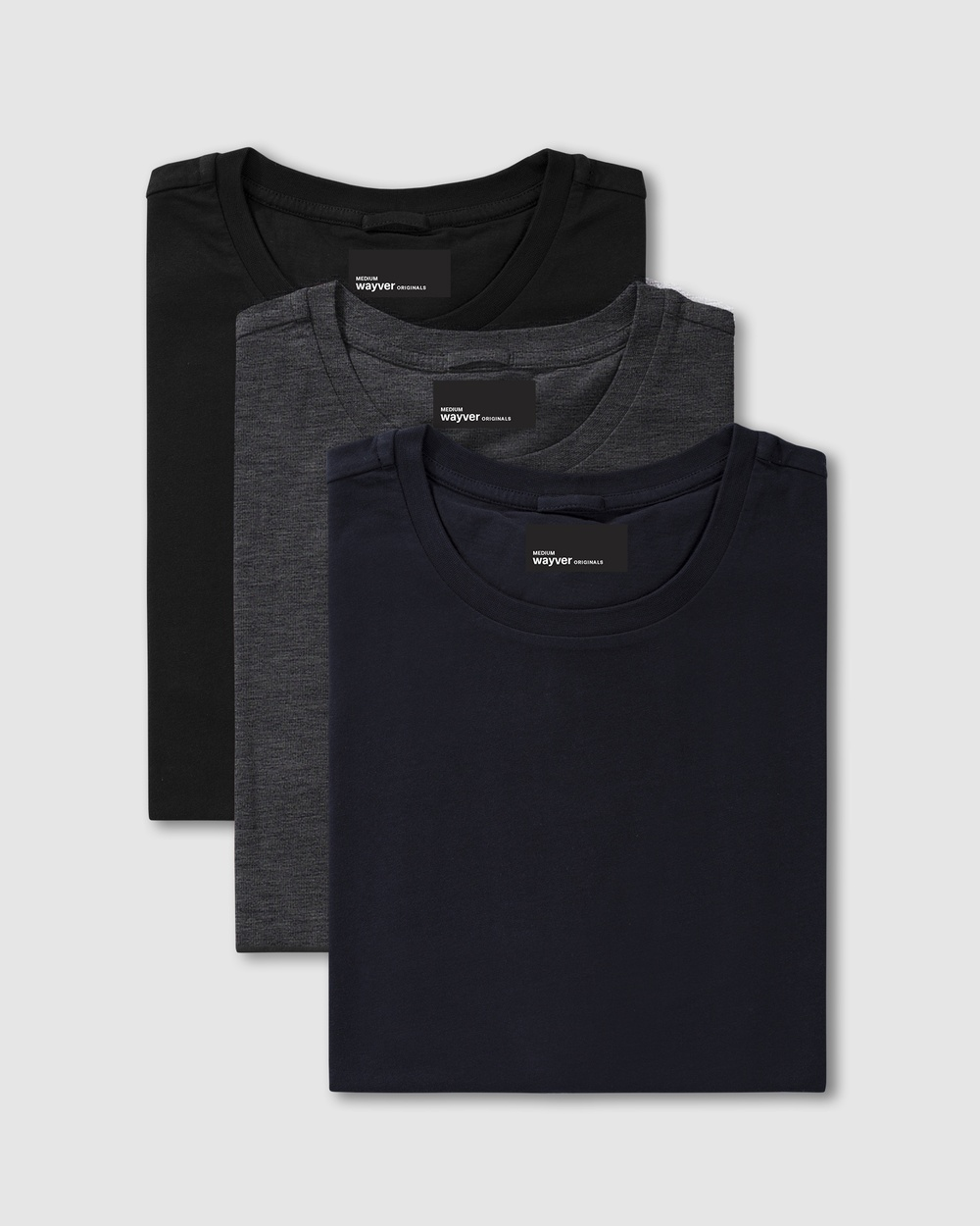 Wayver - The Essential Crew Tee 3 Pack - T-Shirts & Singlets (Black, Charcoal & Navy) The Essential Crew Tee 3-Pack