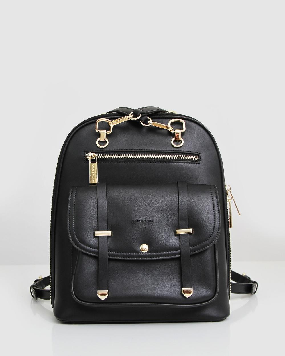 Belle & Bloom 5th Ave Leather Backpack Backpacks Black