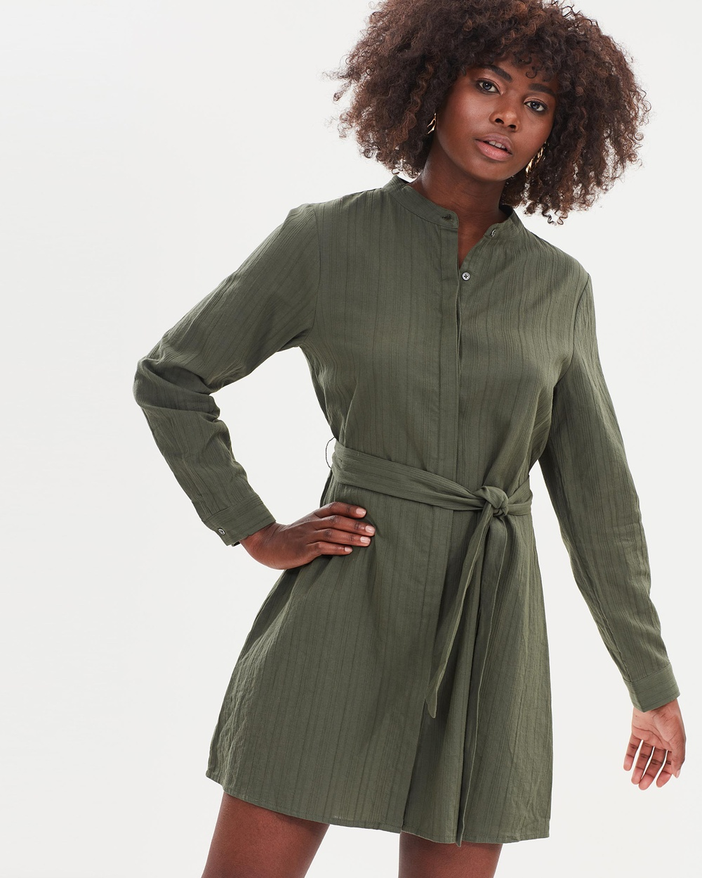 Atmos & Here ICONIC EXCLUSIVE Hazel Cotton Shirt Dress Dresses Khaki ICONIC EXCLUSIVE Hazel Cotton Shirt Dress
