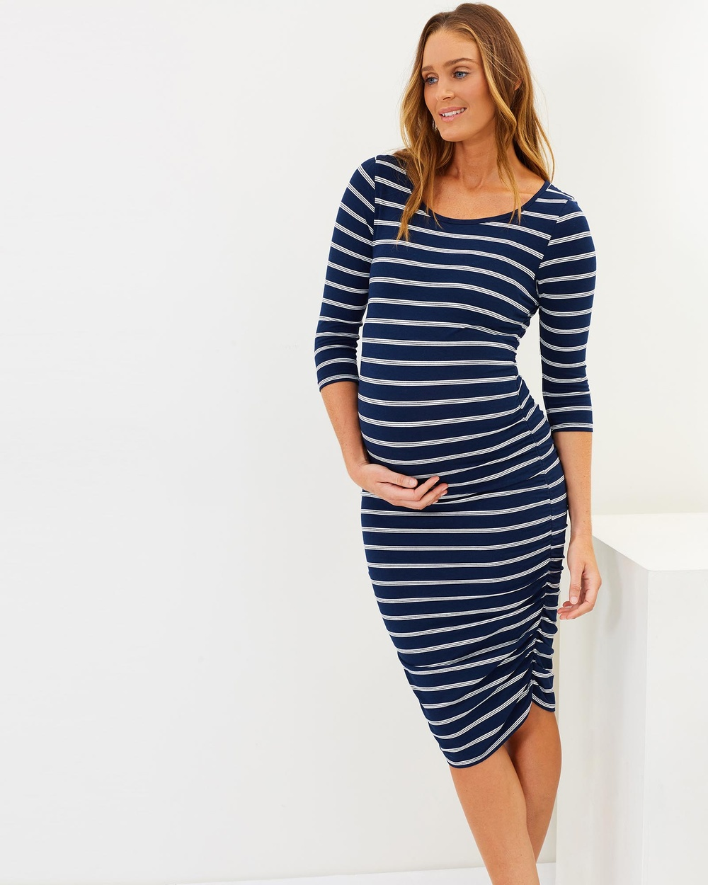Angel Maternity Ruby Joy Bamboo Story Bodycon Maternity Dress Bodycon Dresses Stripe Navy Ruby Joy Bamboo Story Bodycon Maternity Dress
