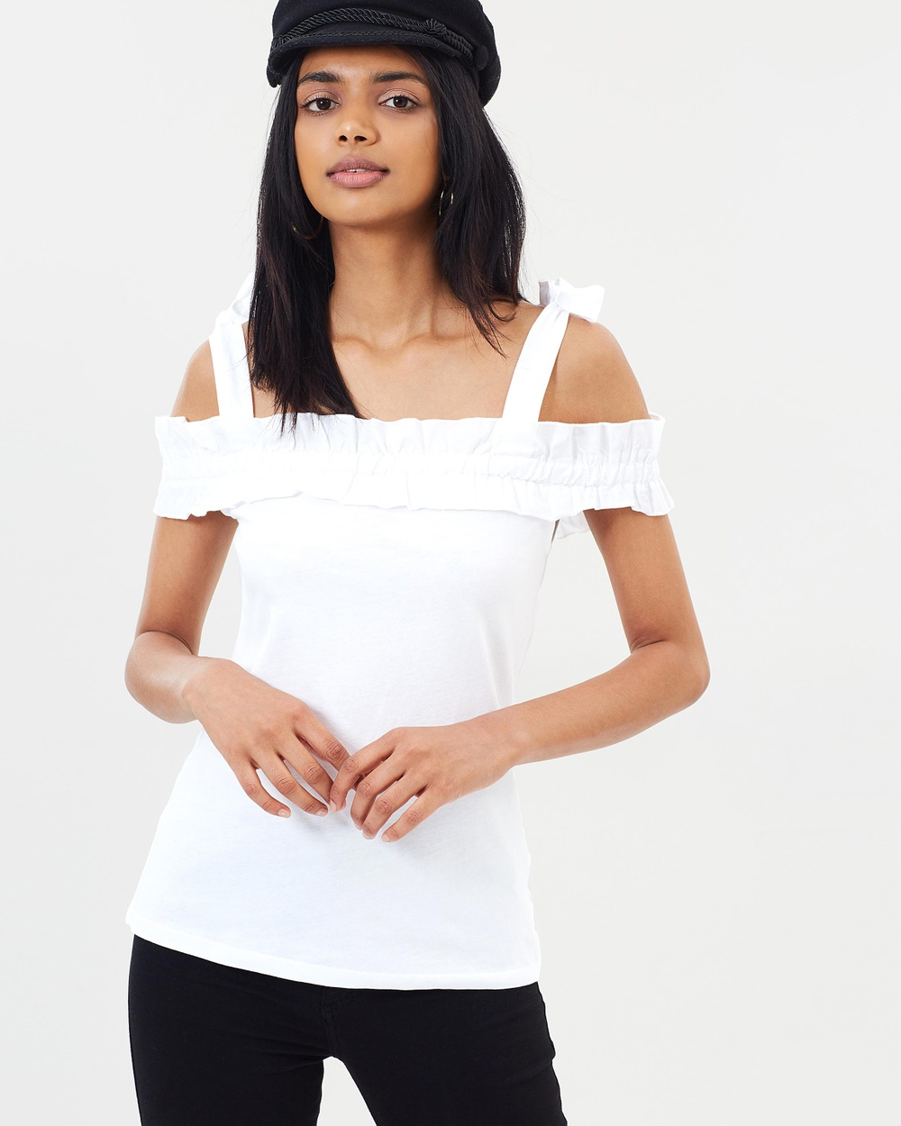 Dorothy Perkins Embellished Cold Shoulder Overlay Top Tops Ivory Embellished Cold Shoulder Overlay Top