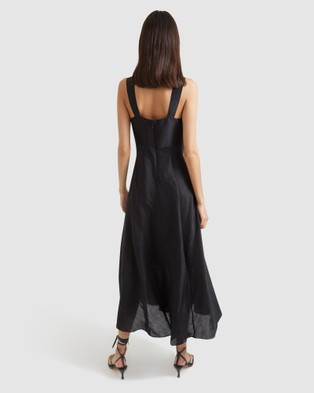 SABA Rome Linen Silk Maxi Dress - Dresses (Black)