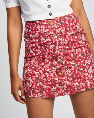 All About Eve Hand Painted Floral Skirt - Skirts (PRINT)