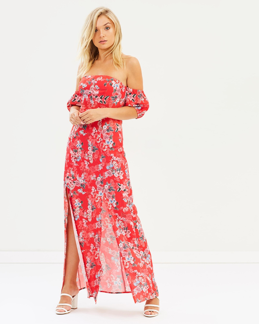 Atmos & Here ICONIC EXCLUSIVE Saba Off Shoulder Maxi Dress Printed Dresses Red Floral ICONIC EXCLUSIVE Saba Off-Shoulder Maxi Dress