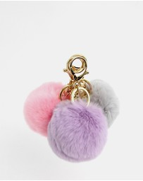 Belle & Bloom - Faux Fur Pom Pom Key Ring 3 Pack