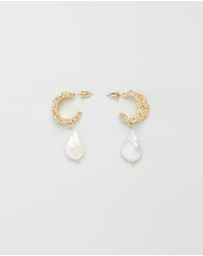 Reliquia Jewellery - Maura Gold and Pearl Hoop Earrings
