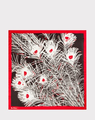Florence Broadhurst Peacock Feathers Silk Scarf - Scarves & Gloves (Red)