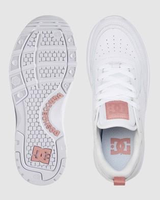DC Shoes Womens E.Tribeka Platform Shoe - Sneakers (WHITE/WHITE/PINK)