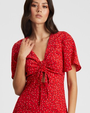 Savel Arianne Midi Dress - Printed Dresses (Red Floral)