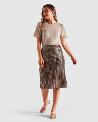 Stella Glow Getter Skirt - Pleated skirts (Gold/Navy)