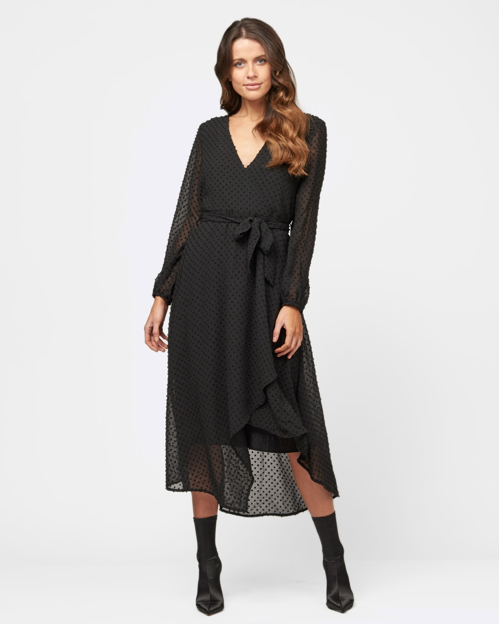 MVN The Midnight City Wrap Dress Dresses Black The Midnight City Wrap Dress